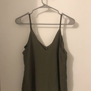 Olive green button down tank